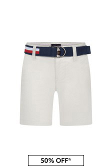 Tommy Hilfiger Boys White Cotton Shorts