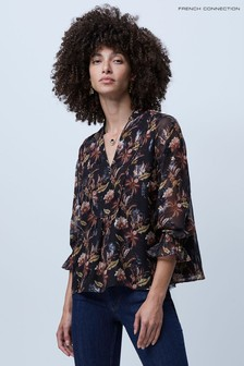 French Connection Black V-Neck Top