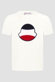 Moncler Enfant Baby Boys Ivory Cotton Jersey Logo T-Shirt