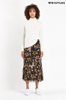 Whistles Multi Clover Dobby Tiered Skirt