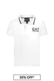 EA7 Emporio Armani Boys White Cotton Polo Top