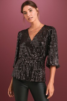 Mirror Sequin Wrap Top