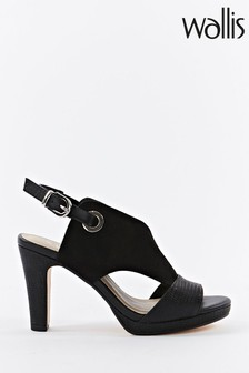 Wallis Sphere Black Eyelet Detail Open Front Platforms