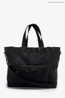 French Connection Black Mila Nylon Tote Bags