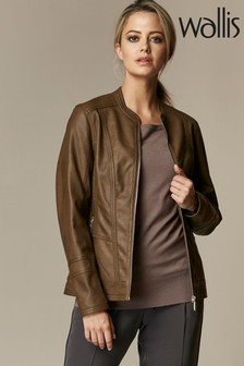 Wallis Natural Petite Faux Leather Biker Jacket