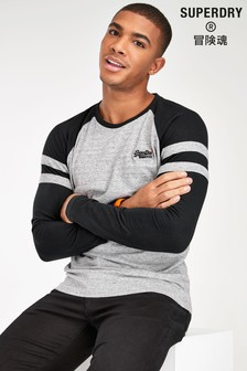 Superdry Dark Grey Long Sleeve Ringer T-Shirt