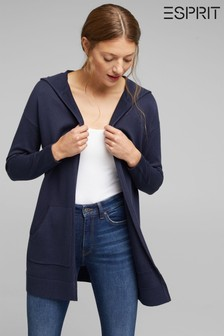 Esprit Navy Open Cardigan Made Of 100% Organic Cotton