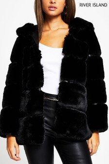 River Island Black Panelled Hooded Faux Fur Coat