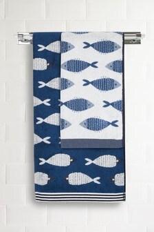 Nautical Fish Jacquard Towels