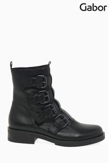 Gabor Black Lafayette Womens Leather Mid Leg Boots