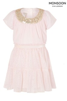 Monsoon Baby Sequin Sparkle Top And Skirt Set