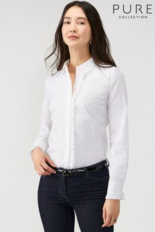 Pure Collection White Cotton Ruffle Trim Shirt