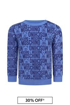 Moschino Kids Baby Boys Blue Cotton Sweater