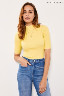 Mint Velvet Yellow Fine Ribbed Knit Jumper