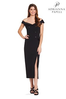Adrianna Papell Black Crepe Tuxedo Dress