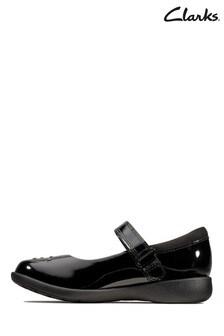 Clarks Kids Black Leather Etch Spark Shoe
