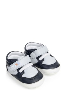 Baby Boys Navy Leather Pre-Walker Trainers