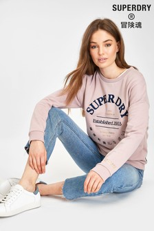 Superdry Lilac Appliqué Crew Jumper