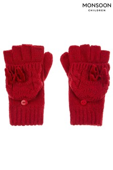 Monsoon Red Ruby Heart Velvet Bow Cable Gloves