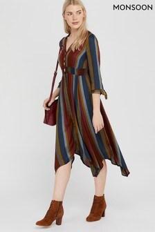 Monsoon Brown Westmount Stripe Midi Dress