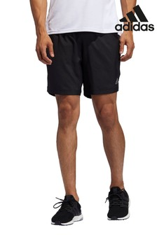adidas Black Own The Run 3 Stripe Shorts
