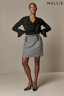 Wallis Black Dogtooth A-Line Skirt