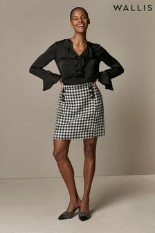 Wallis Black Dogtooth A-Line Skirt