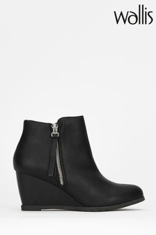 Wallis Astonish Black Side Zip Wedge Boots