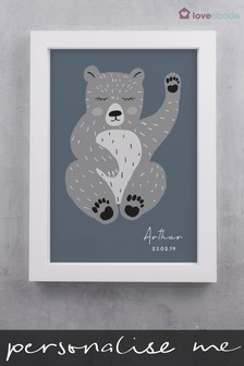 Personalised Scandi Bear Wall Art by Loveabode