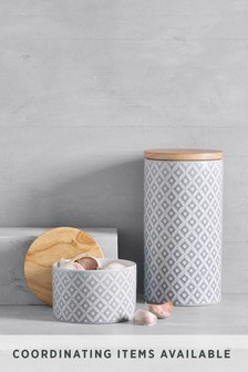 Geo Embossed Ceramic Storage Jar
