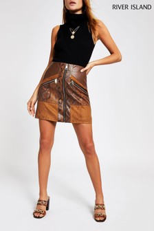 River Island Brown Hybrid PU Snake Mix Suedette Skirt