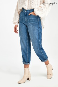 Free People Light Wash Barrel Fit Jeans