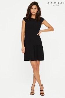 Damsel In A Dress Black Zeeka Pleat Dress