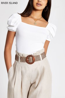 River Island White Puff Sleeve Rib T-Shirt