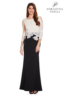 Adrianna Papell Black Embroidered Long Dress