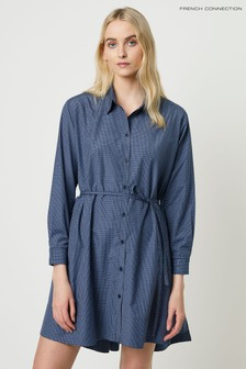 French Connection Blue Mattia Check Drawstring Dress