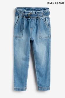 River Island Blue Paperbag Waist Jeans