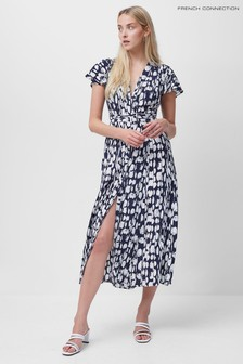 French Connection Blue Islanna Crepe Printed Midi Dress