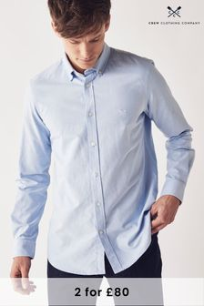 Crew Clothing Company Blue Oxford Slim Shirt