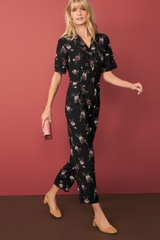 Short Sleeve Crepe Jumpsuit
