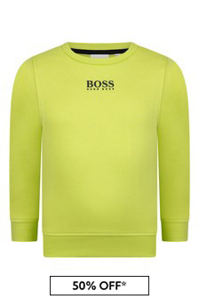 Boys Lime Cotton Logo Sweater