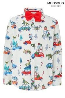 Monsoon Driving Home For Christmas Hemd für Kinder, Blau