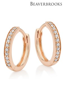 Beaverbrooks Silver Rose Gold Plated Cubic Zirconia Hoop Earrings