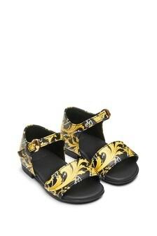 Versace Girls Black/Gold Baroque Leather Sandals