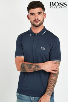 BOSS Blue Paul Curved Polo