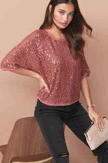 Sequin Kimono Sleeve T-Shirt