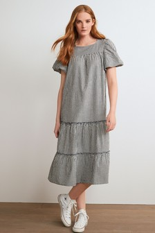 Tiered Cut Out Back Midi Dress