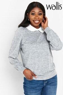 Wallis Grey Shirt Collar Contrast Top