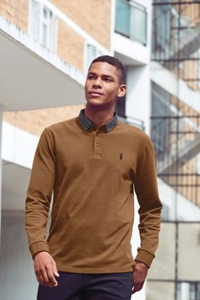Long Sleeve Woven Collar Regular Fit Polo