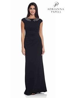 Adrianna Papell Crepe Bead Dress